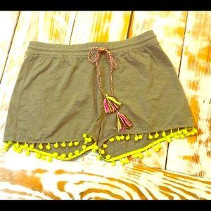 Lisa Todd Army Green Shorts w/ Lime Pom Pom XS